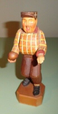 Bocce Bowler Vintage ANRI Carved Wood Statue/Figurine Made in Italy