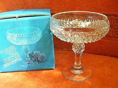 Vtg NIB Diamond Point Tall Clear Crystal Compote #0103 Indiana Glass Co.