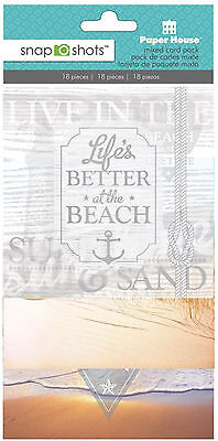 Paper House BEACH 4x4 Mixed Card Pack (18pc) scrapbooking TRAVEL SAND SURF SEA