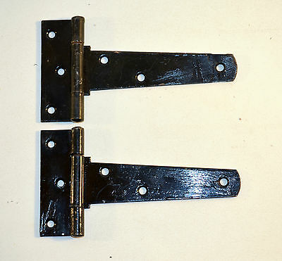 "Vintage Pair of Barn Door Hinges 7""1/2 Rustic Salvage Black Door Hinge"