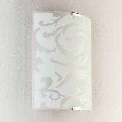 Modern White Opal Glass & Etched Detail Wall Light Wall Washer Sconce