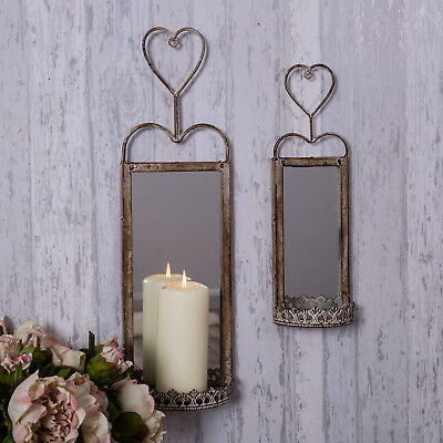 Set of Two Heart Mirrored Wall Sconce Rustic Candle Holder Shabby Accessory Gift