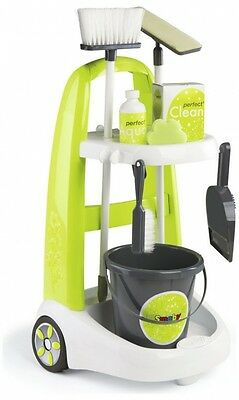 SMOBY Cleaning Trolley,Childrens Houshold Cleaner Mop Brush Bucket,Kids Toy NEW