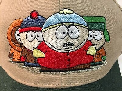 VINTAGE 1998 SOUTH PARK BASEBALL CAP - Kenny, Stan, Cartman & Kyle - USED