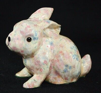 Chintz Floral Print Easter Ceramic Bunny Rabbit Figurine Pink Blue Flowers