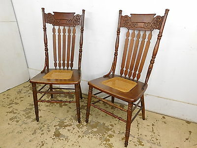 Antique PAIR Oak Pressed Back Chairs Larkin Mfg. Company circa 1900 EXCELLENT!