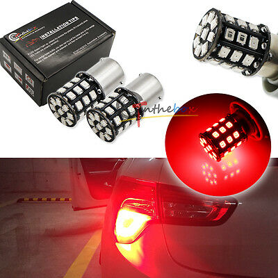 2PCS Red 1156 P21W 7507 BA15S 33-SMD 2835 LED Bulbs For Tail Brake Stop Lights