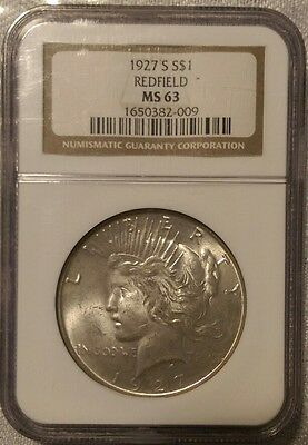 1927 S S$ REDFIELD MS 63 peace dollar NGC Certified