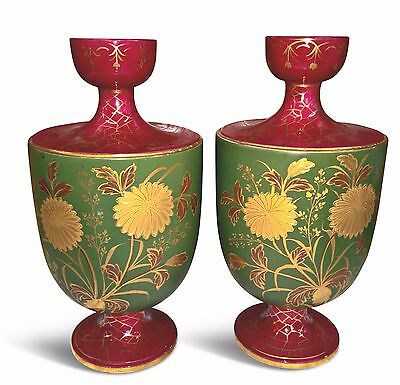 Pair Of Large Edwardian Antique Gilded Vases In Green & Burgundy 32Cms High