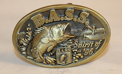 Bass Anglers Society Sportsman B.A.S.S. Brass Buckle Fishing Spirit of '96