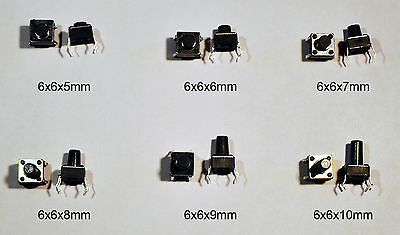 10x 6x6mm Momentary Tactile Tact Push Button Switch 4 Pin DIP Through Hole SPST
