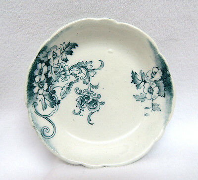 Antique England Staffordshire Pottery Butter Pat ~ Teal Green Floral Transfer