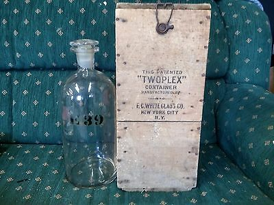Antique Twoplex Apothecary Druggist Bottle Jar with original box and Stopper!