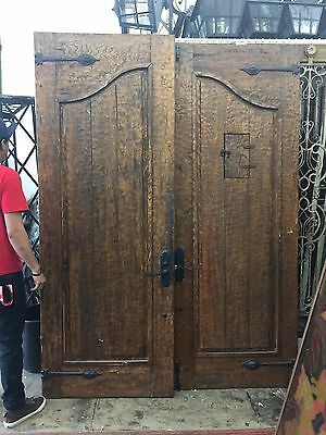 Antique Vintage Old Spanish Door Gate Gothic Entry Double Wrought Iron Grill