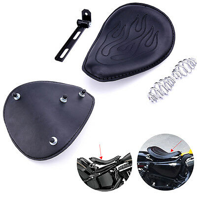 Motorcycle 3''Spring Solo Leather Asiento Bracket For Harley Chopper Bobber New