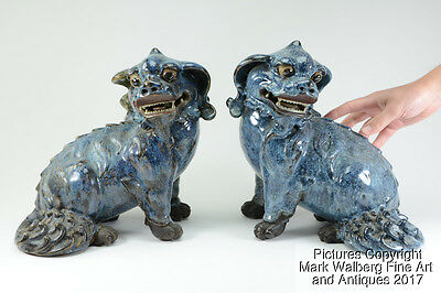PAIR Chinese Flambé Glazed Pottery Foo Dogs, Calligraphy Seal Marks,19th Century