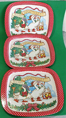3 Vintage 1960s Merry Christmas White Geese Metal Mint Trays Jasco Hong Kong