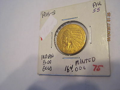 1915  S  Half Eagle, $5 Gold Indian   LOW MINTAGE** Free Shipping!