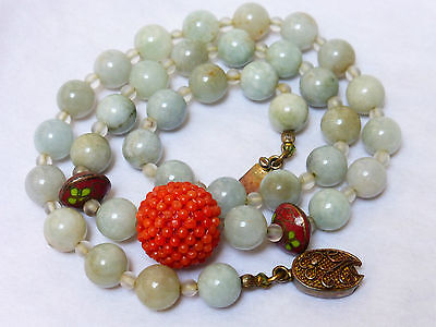 Chinese Vintage Jade And Salmon Coral Bead Necklace, Silver Clasp