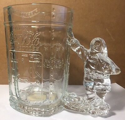Vintage 1997 Coca Cola Christmas Serve Yourself Santa Glass Mug Stein!