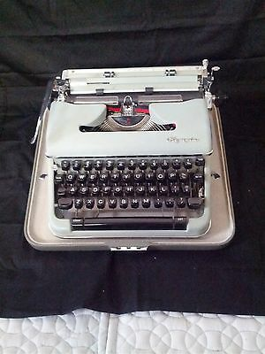 """Vintage Olympia """"S"""" Portable  Typewriter & Case West Germany"""