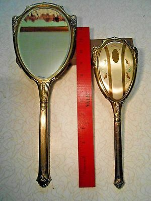 Vintage Gold Plated Vanity Set-Mirror And Brush