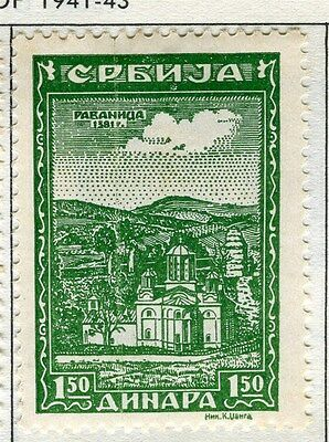 SERBIA;  1941-43 early Monasteries issue fine Mint hinged 1.50d. value