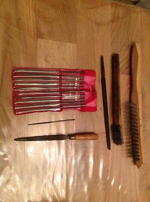 Selection Clockmakers or Watch Makers Tools  Files Wire Brushes Ex Parts Chest