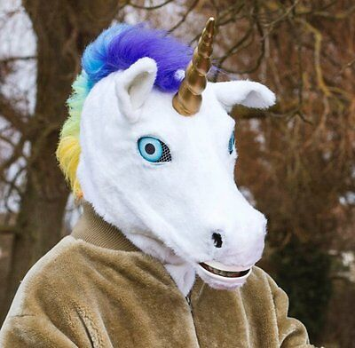 Thumbs Up MR UNICORN MASK Moving Mouth HEAD Mask Plush Faux Far