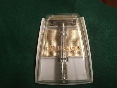 Vintage Gillette Slim with Collar 1960's Safety Razor with Box Rare! Not for Use