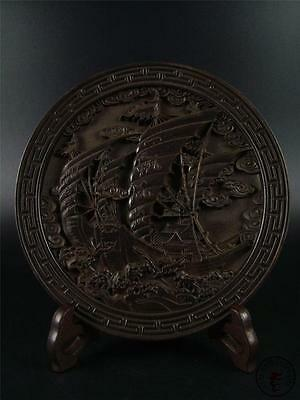 Old Chinese Rosewood Hand Carved Plate Statue w/ stand SAILING BOAT ~ AUSPICIOUS