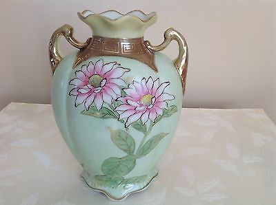 """Vintage Hand Painted Two Handle Nippon Vase 8.5"""" Tall Soft Green, Pink Flowers"""