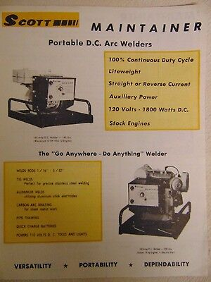Vintage Scott Maintainer Portable D.C. Arc Welders