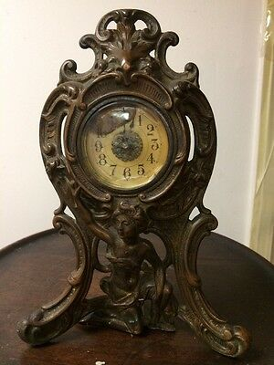 19th c Exquisite Antique French collectible bronze Clock Art gold color