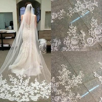 White/Ivory 1Layer Cathedral Length Bridal Veil new Lace Edge Wedding veils Comb