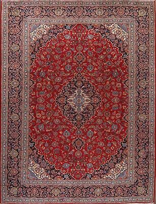 Antique Traditional Floral Hand Knotted 10x13 Kashan Persian Oriental Area Rug