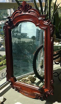Antique English Cherry Wood Large Ornate Carved Beveled Wall Mirror 43''x27''