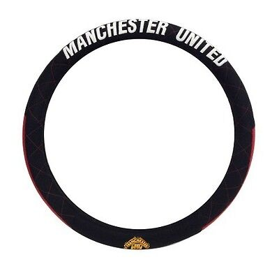 Manchester United Car Steering Wheel Cover In Black. Premier Car Accessory