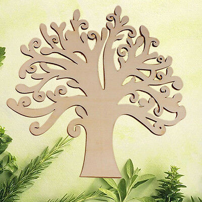 1Pc Wooden Mdf Autumn Tree Craft Blank Wedding Guestbook Decoupage Family Sturdy