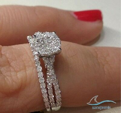 1 CT Round Cut Diamond Engagement Bridal Ring Wedding Band Set 14K White Gold
