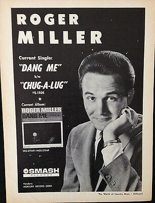 Roger Miller. Dang Me - Original 1 Page Advert From 1964 Billboard Country Music