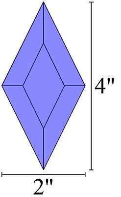 2x4 Diamond Bevels for Stained Glass - Box of 30 - BLUE