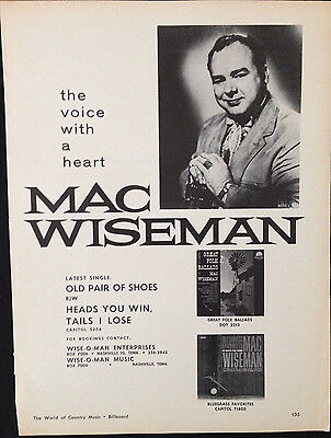 Mac Wiseman - Original 1 Page Advert From 1964 Billboard Country Music