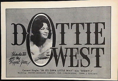 Dottie West - Half Page Advert From 1964 Billboard World Of Country Music