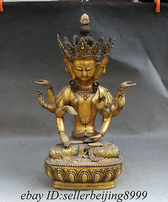 "20"" Chinese Buddhism Pure Bronze 4 Head 8 Arms GuanYin Kwan-Yin Goddess Statue"