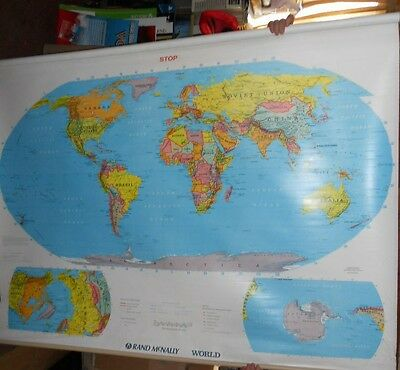 Vintage Rand McNally School  Pull Down  world  Map retractable