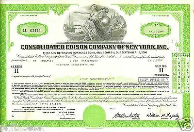 STOCK-Consolidated Edison Company  New York Certificate for 1000 Share-Mar 1974