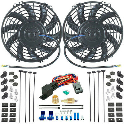 "Dual 9"" Inch Electric Radiator Cooling Fans & 3/8"" Npt Fan Ground Thermostat Kit"
