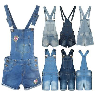 Denim Dungaree Outfit Shorts Dress Jumpsuit New Girls Kids Party Size 3-14 Years