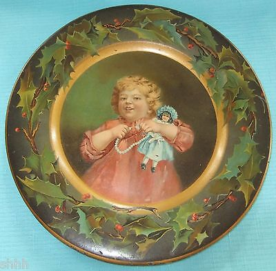 """C D KENNY CO CHRISTMAS Child w Doll TIN LITHO Advertising 10"""" PLATE"""